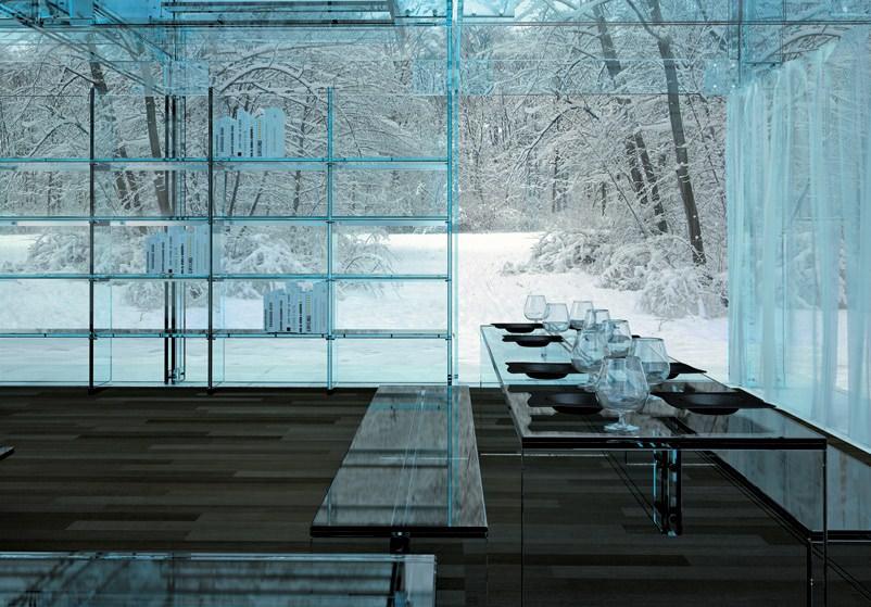 interior casa de sticla