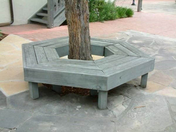 Grey-hexagonal-tree-bench