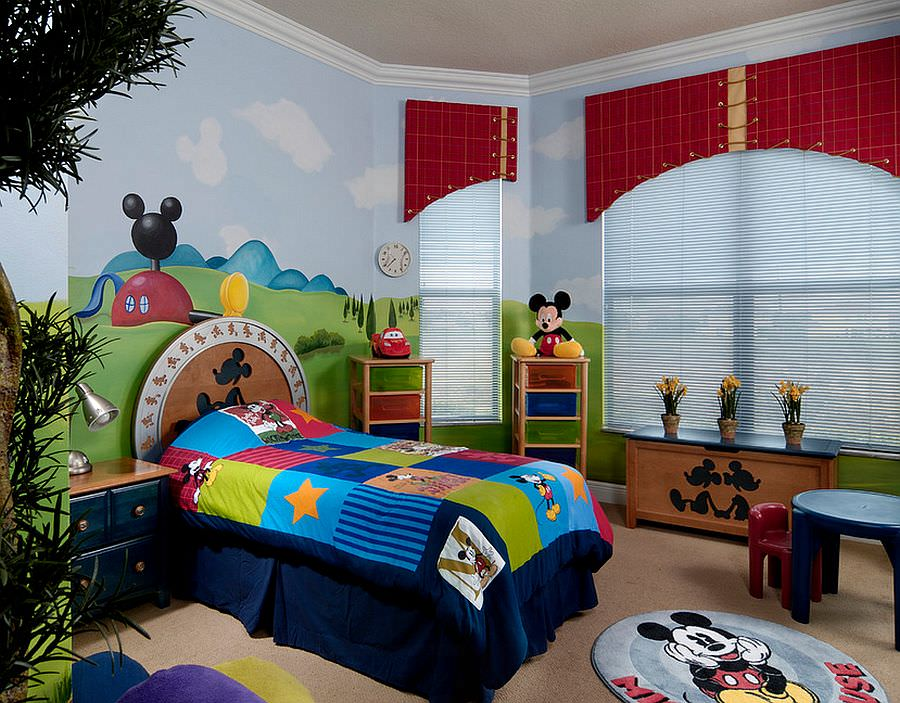 Colorful-and-creative-Mickey-themed-kids-bedroom
