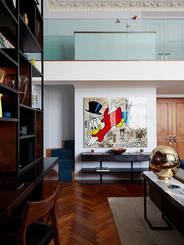 Disney-themed-Alec-Monopoly-painting-adds-playfulness-to-the-contemporary-living-room