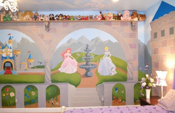 Disney-wall-mural-for-the-guest-room-that-doubles-as-a-nursery