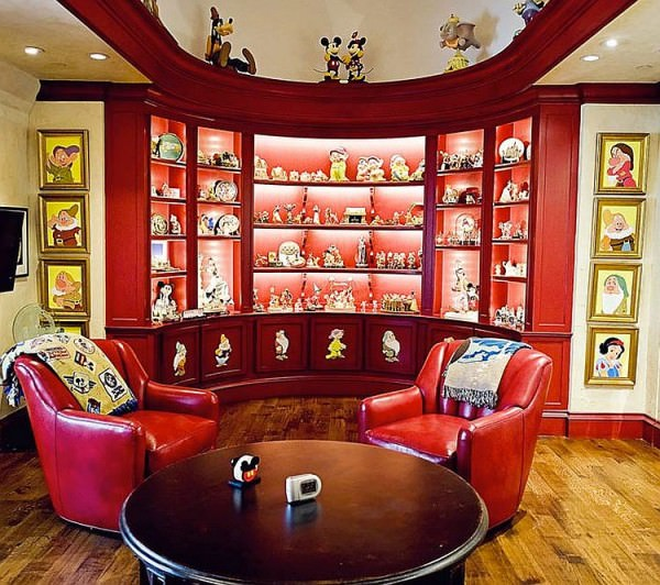 Family-room-in-Dallas-home-proudly-displays-Disney-Collectibles