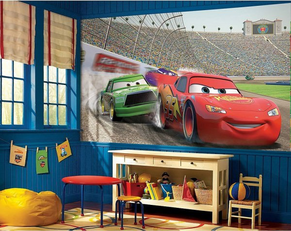 Modern-bedroom-with-Disney-Cars-themed-decor-and-wall-decal