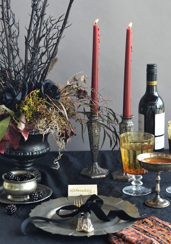 Addams-Family-themed-Halloween-table-setting