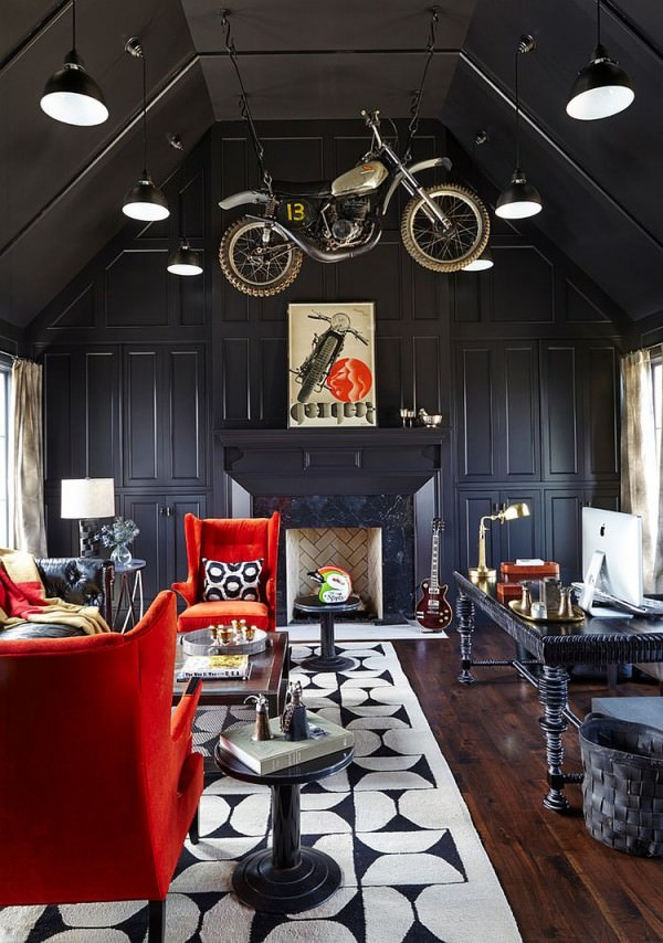 Awesome-home-office-design-with-bike-hanging-in-the-air