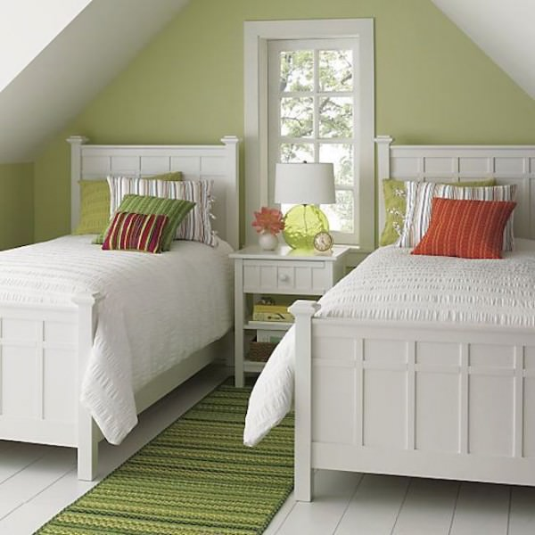 Bright-green-guest-room-featuring-Brighton-white-bedding-from-CrateBarrel