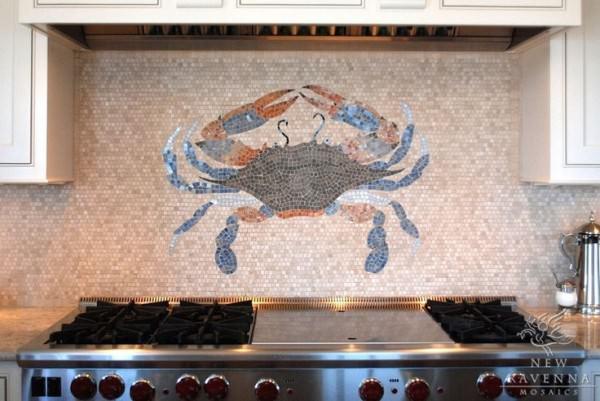 Crab-design-in-mosaic-backsplash