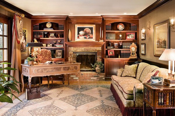 Custom-built-bookcases-surround-the-fireplace-in-this-beautiful-home-office