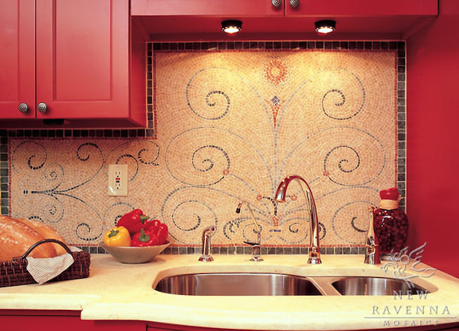 Elegant-mosaic-backsplash-with-swirl-design