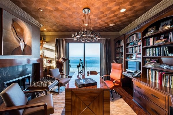 Glamorous-home-office-with-an-understated-fireplace-and-panoramic-view