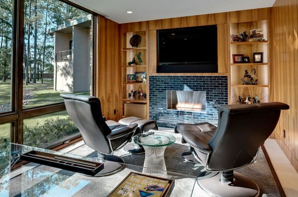 Home-office-with-hidden-TV-above-the-fireplace