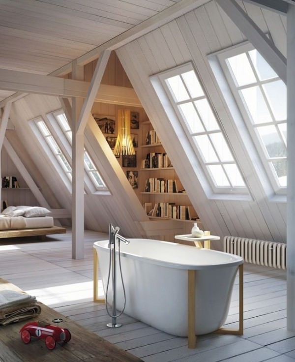 Luxurious-soaking-tub-in-the-middle-of-a-large-attic