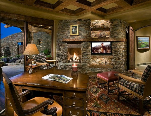 Stone-wall-with-fireplace-in-the-home-office