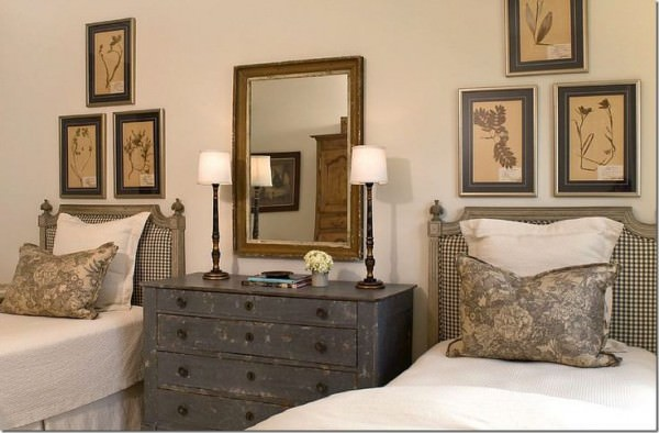 Twin-beds-with-beautiful-rustic-dresser-between-them