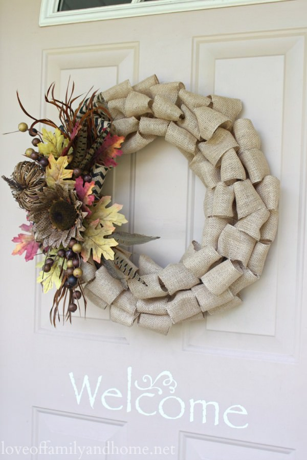 Burlap-fall-wreath-on-front-door