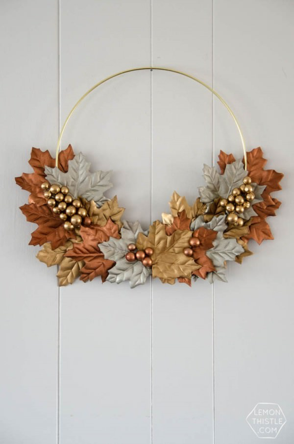 Create-a-wreath-with-some-fake-leaves