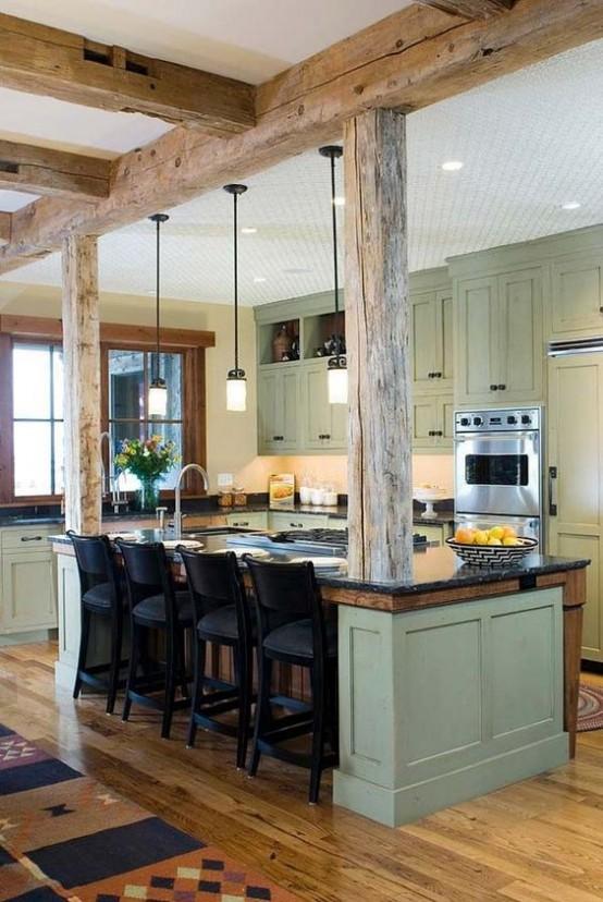 grinzi de lemn in bucatarie 20