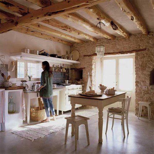 grinzi de lemn in bucatarie