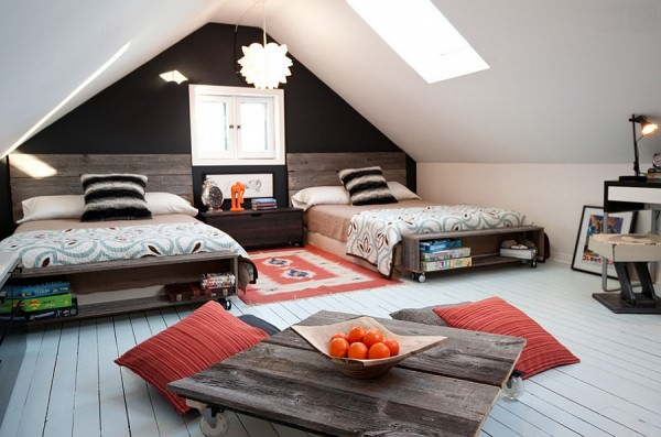 Attic-kids-bedroom-with-low-furnishings-and-skylight