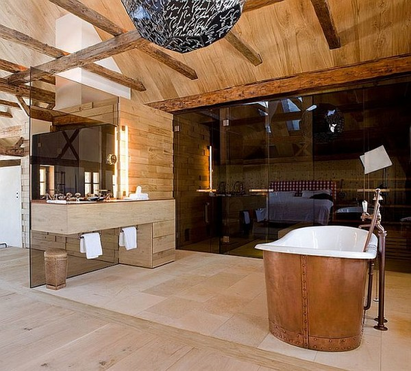 Contemporary-and-rustic-styles-meet-inside-this-Austrian-bathroom