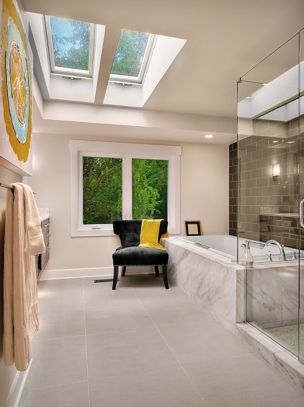 Contemporary-bathroom-with-gorgeous-use-of-skyligt