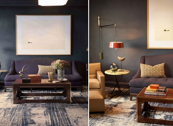 Custom-rug-acentuates-the-masculine-vibe-of-the-room