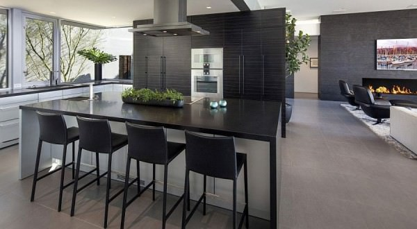Dark-shelves-in-the-backdrop-add-sophistication-to-the-sleek-kitchen