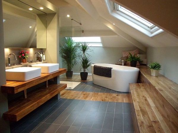 Dashing-bathroom-with-slanted-ceiling-and-skylight