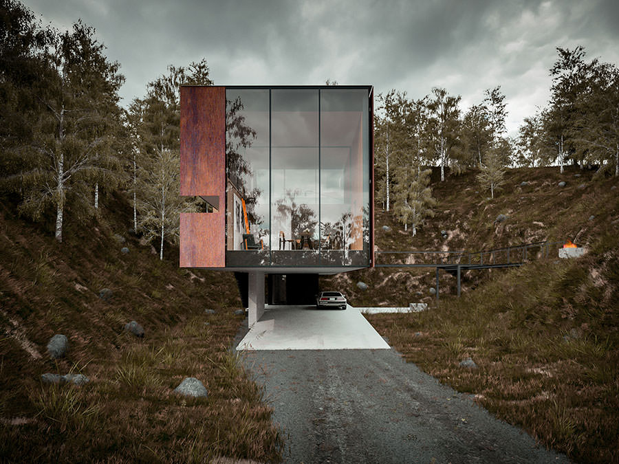 Elevation-of-the-ingenious-house-draped-in-glass-and-Cor-ten-sheets