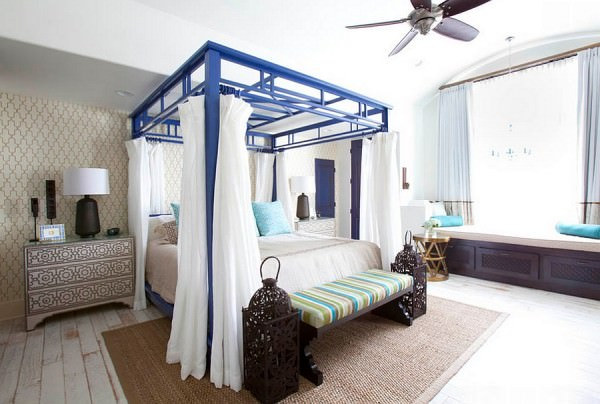 Exciting-Splashes-of-color-and-intricate-pattern-breathe-life-into-the-bedroom