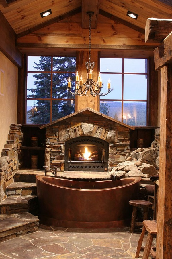 Fabulous-cabin-style-bathroom-with-copper-bathtub-fireplace-and-large-windows