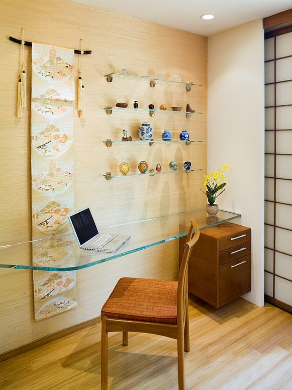Floating-glass-desk-and-simple-accessories-shape-this-home-office