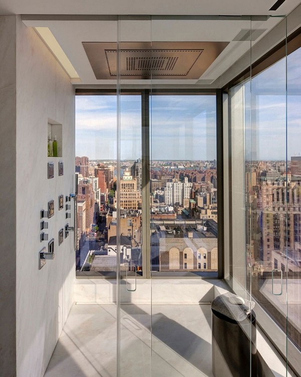 Glass-shower-area-of-the-Collectors-Residence-in-New-York
