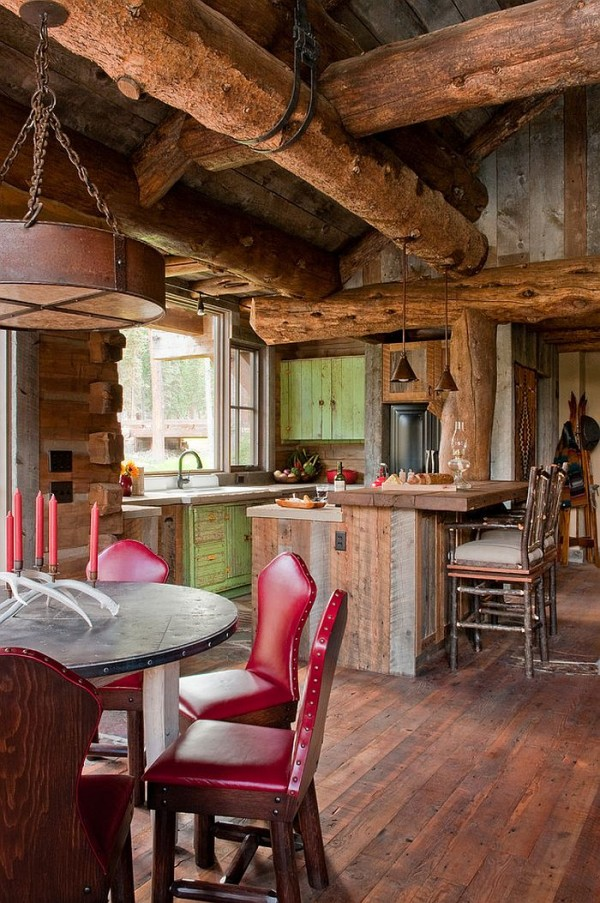 Gorgeous-cabin-kitchen-and-dining-area-with-exposed-wooden-logs-above