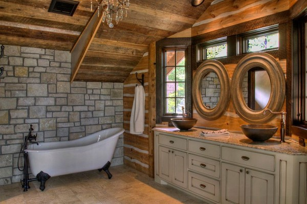 Interesting-use-of-round-mirrors-in-the-rustic-bathroom
