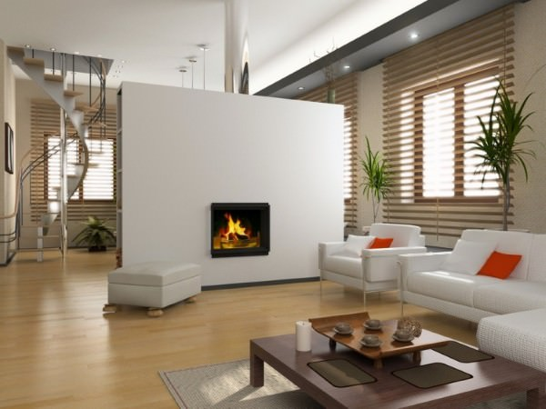 Living-room-with-miniblinds-and-a-fireplace