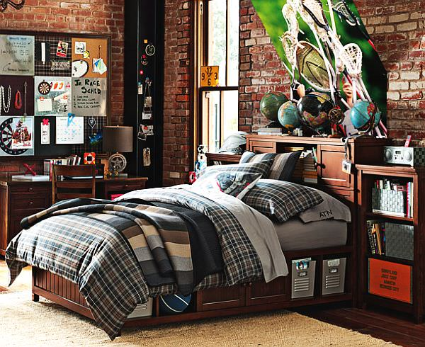 Plaid-Beadboard-Bedroom-for-teenage-boys
