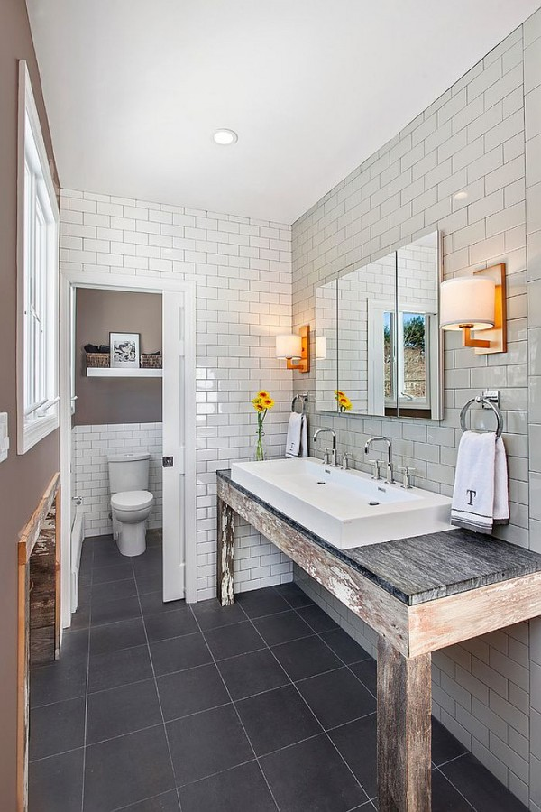 Rustic-modern-bathroom-design-with-unique-vanity