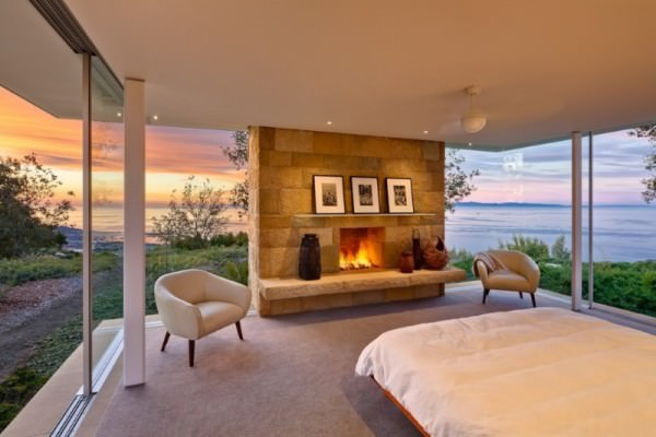 Santa-Barbara-bedroom-with-a-fireplace