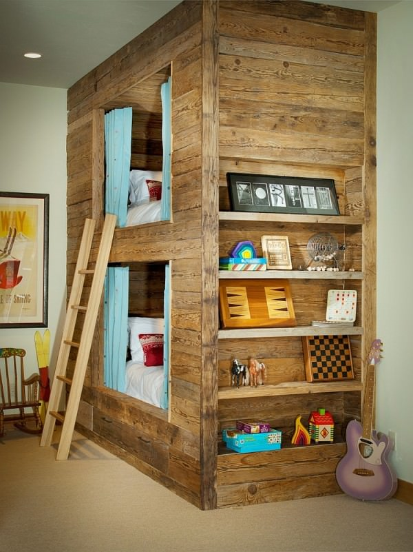 Shape-a-unique-bunk-bed-for-the-rustic-kids-room