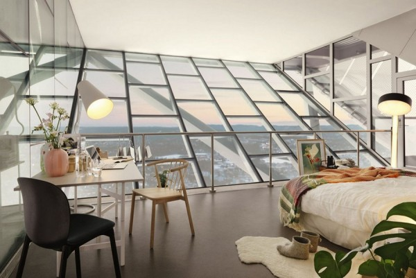 Ski-jump-penthouse-bedroom-slated-wall