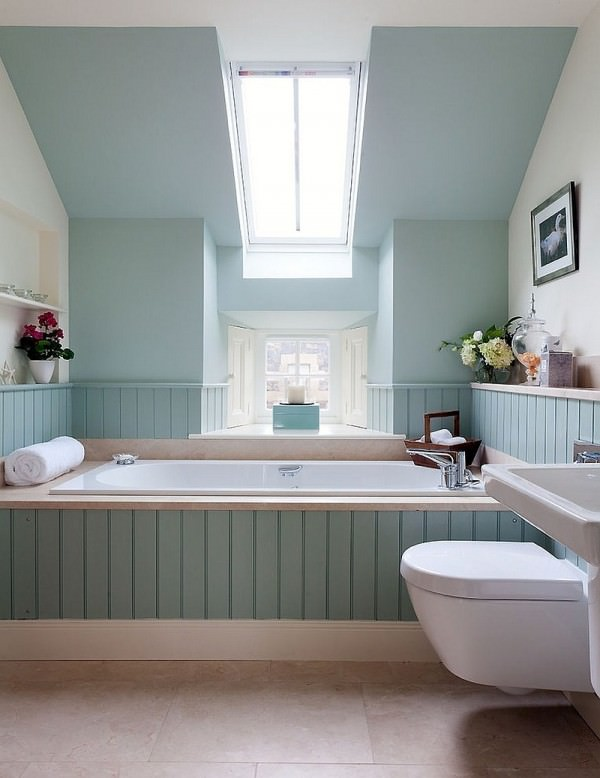 Skylight-allows-you-to-use-color-in-the-small-bathroom-with-ease