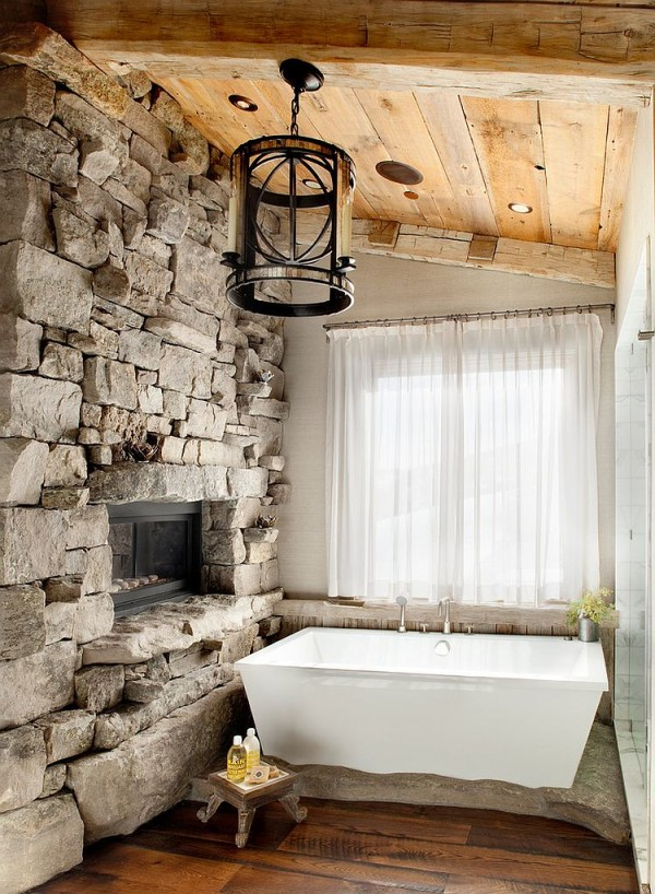 Stone-wall-brings-the-charm-of-a-ski-lodge-design-home
