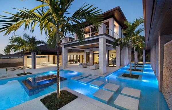 Stunning-pool-with-precast-concrete-pool-deck-and-stepping-stones