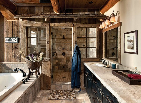 Weathered-wood-panels-bring-rustic-beauty-to-this-bathroom