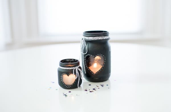 black-painted-mason-jars
