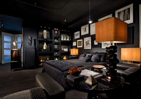 dark-wall-bachelor-bedroom