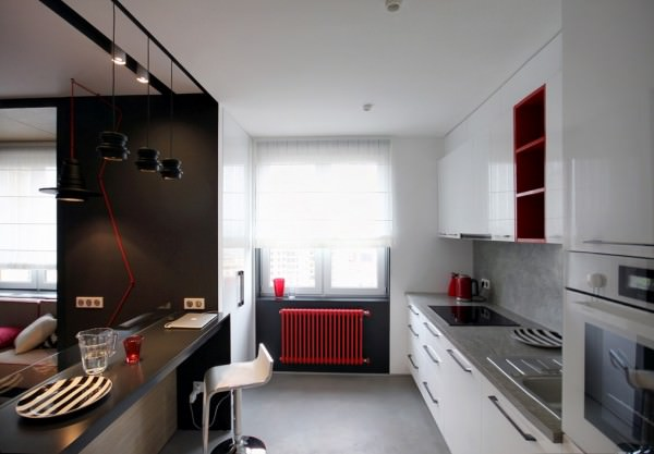 open-space-kitchen-small-apartment-red-radiator