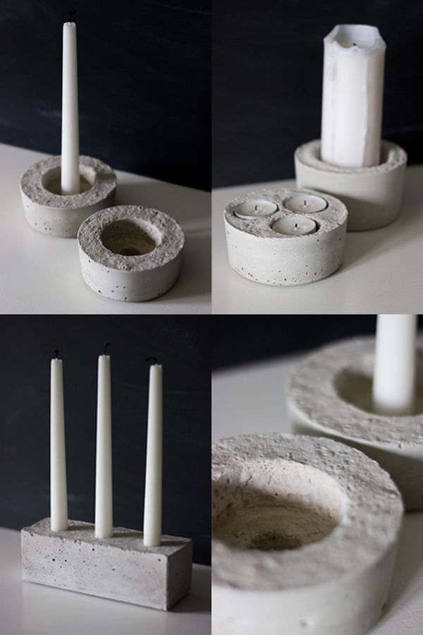 round-cement-candles-holder
