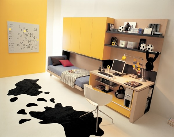 storage-for-small-spaces-with-wallpaper-decor-bunk-bed-compact-study-table
